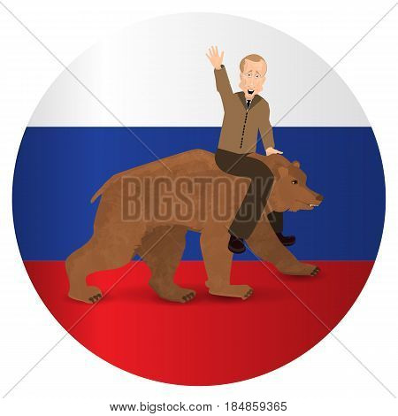 Vladimir Putin Riding On A Bear Wild Brown