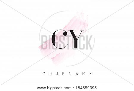 Cy C Y Watercolor Letter Logo Design With Circular Brush Pattern.