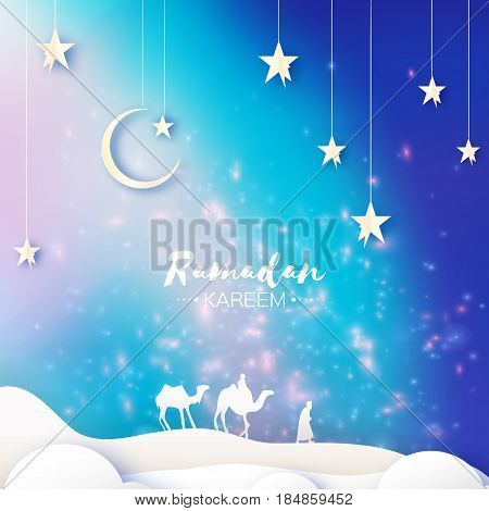 Ramadan Kareem. Arabic Mosque, landscape, camel, stars. Paper cut art style. Landsape sand dune.Crescent Moon. Holy month of muslim. Symbol of Islam. Origami Greeting card. Blue background Vector