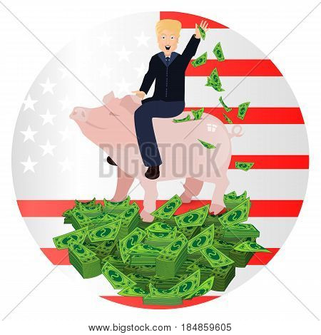 Donald Trump Riding A Pig Piggy Bank