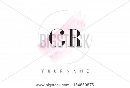 Gr G R Watercolor Letter Logo Design With Circular Brush Pattern.