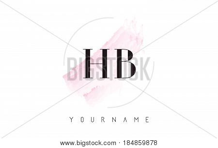 Hb H B Watercolor Letter Logo Design With Circular Brush Pattern.