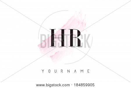 Hr H R Watercolor Letter Logo Design With Circular Brush Pattern.