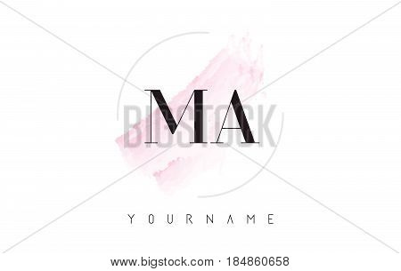Ma M A Watercolor Letter Logo Design With Circular Brush Pattern.