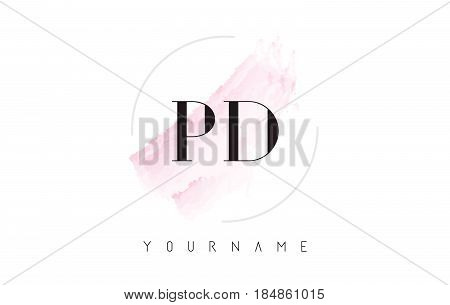 Pd P D Watercolor Letter Logo Design With Circular Brush Pattern.
