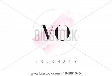 Vo V O Watercolor Letter Logo Design With Circular Brush Pattern.