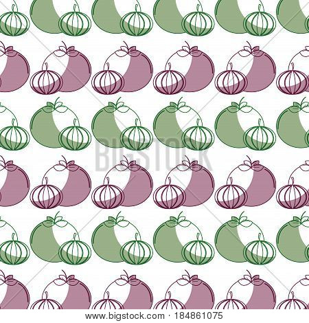 tomato and garlic organic healthy vegetable background, vector illustration
