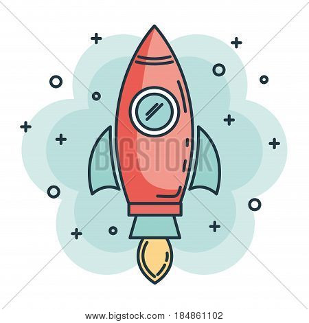 rocket startup launcher icon vector illustration design