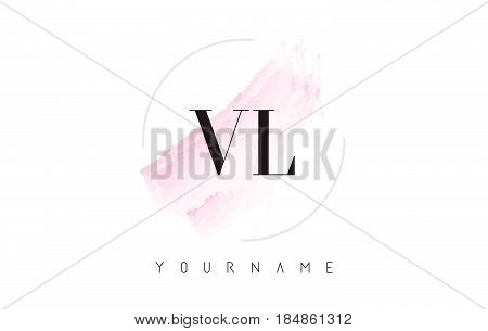 Vl V L Watercolor Letter Logo Design With Circular Brush Pattern.