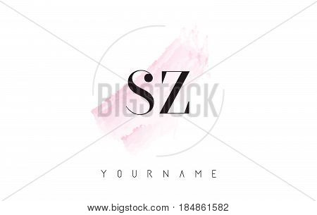 Sz S Z Watercolor Letter Logo Design With Circular Brush Pattern.
