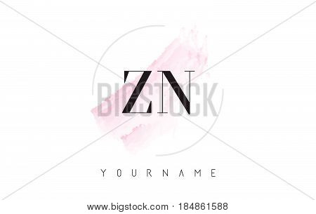 Zn Z N Watercolor Letter Logo Design With Circular Brush Pattern.