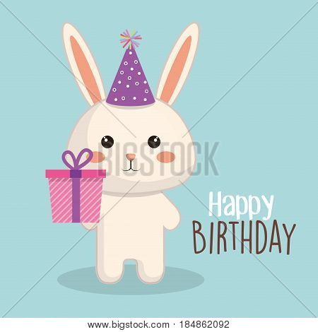 happy birthday card with tender animal vector illustration design
