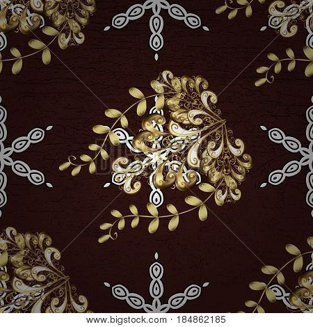Brown On Background. Oriental Classic Golden Pattern. Vector Abstract Background With Repeating Elem