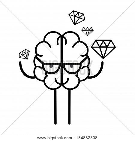 line icon adorable kawaii brain with a lot of diamond, vector illustration