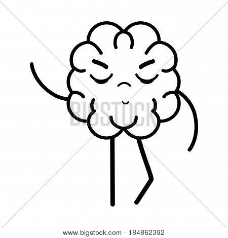 line icon adorable kawaii brain expression, vector illustration