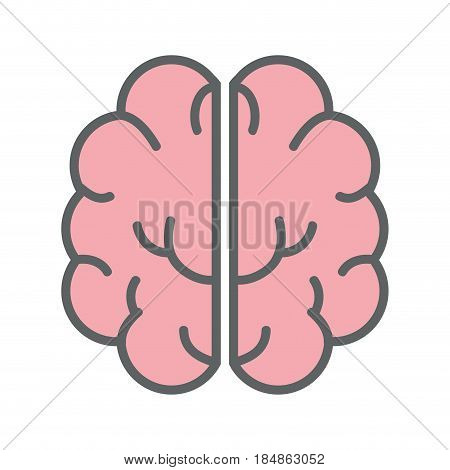 pink creative brain and mental healthy, vector illustration