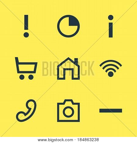 Vector Illustration Of 9 Member Icons. Editable Pack Of Cordless Connection, Alert , Handset Elements.