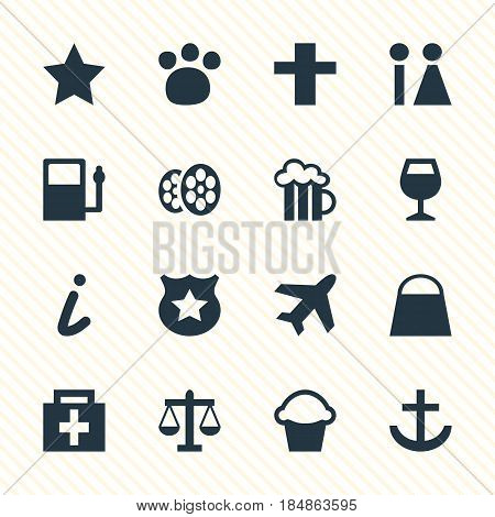 Vector Illustration Of 16 Travel Icons. Editable Pack Of Aircraft, Map Information, Drugstore And Other Elements.