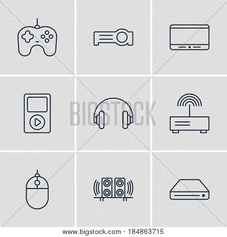 Vector Illustration Of 9 Hardware Icons. Editable Pack Of Joypad, Cursor Controller, Floodlight And Other Elements.