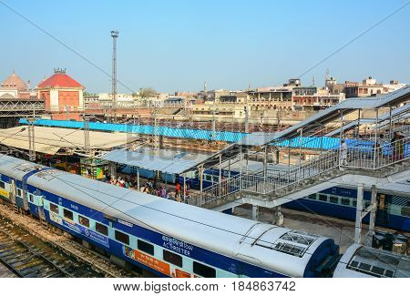 Train Stopping At Station In Agra, India