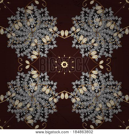 Brown on background. Royal luxury golden baroque damask vintage. Vector pattern background sketch with gold antique floral medieval decorative 3d flowers leaves and gold pattern ornaments.