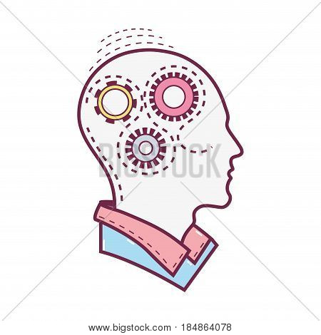 color silhouette gears with heart inside, vector illustration