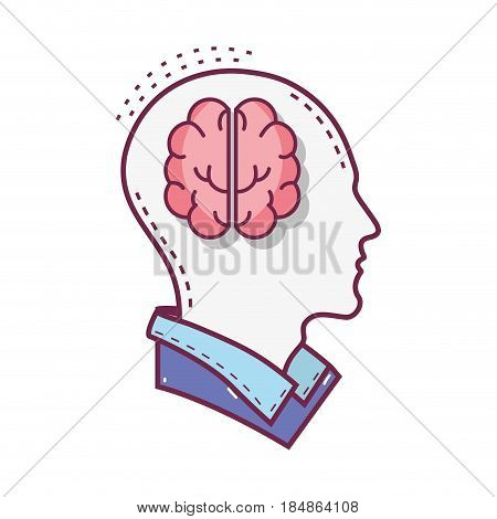 color silhouette head with brain inside, vector illustration