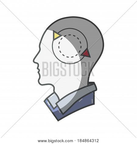 color silhouette head with round arrow inside, vector illustration
