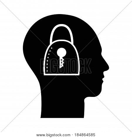 contour silhouette head with padlock inside, vector illustration
