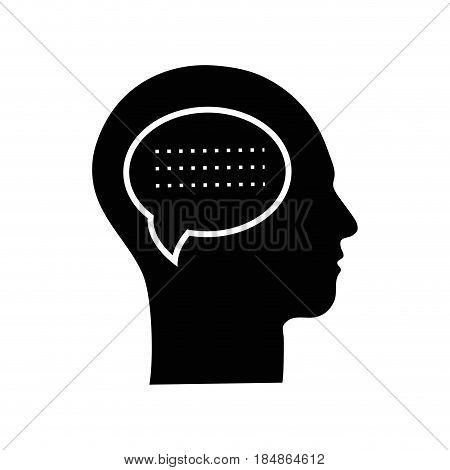 contour silhouette head with chat bubble inside, vector illustration