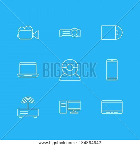 Vector Illustration Of 9 Technology Icons. Editable Pack Of Computer, Camcorder, Smartphone And Other Elements.