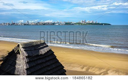 Maputo city view from Catembe beach in Mozambique