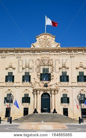 VALLETTA, MALTA - MARCH 30, 2017 - View of the Auberge de Castille (office of the Prime Minister) in Castille Square Valletta Malta Europe, March 30, 2017.