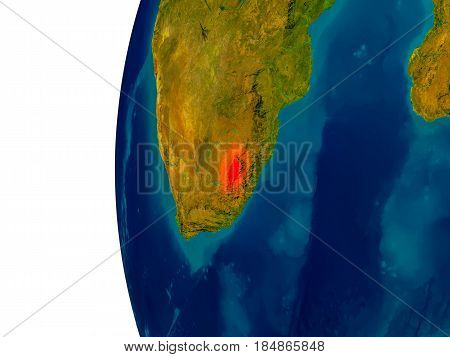 Lesotho On Model Of Planet Earth