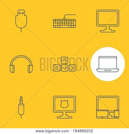 Vector Illustration Of 9 Laptop Icons. Editable Pack Of Serial Bus, Qwerty Board, Antivirus And Other Elements.