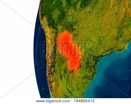 Paraguay On Model Of Planet Earth