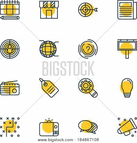 Vector Illustration Of 16 Advertising Icons. Editable Pack Of Discussing, Advertising Billboard, Discount Label And Other Elements.