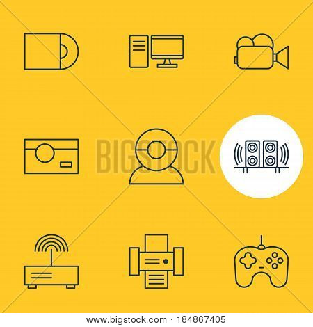 Vector Illustration Of 9 Device Icons. Editable Pack Of Photocopier, PC, Video Chat And Other Elements.