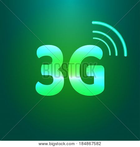 3g shiny icon. Vector art on green gradient background