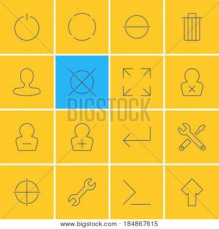 Vector Illustration Of 16 User Interface Icons. Editable Pack Of Man Member, Wide Monitor, Garbage And Other Elements.