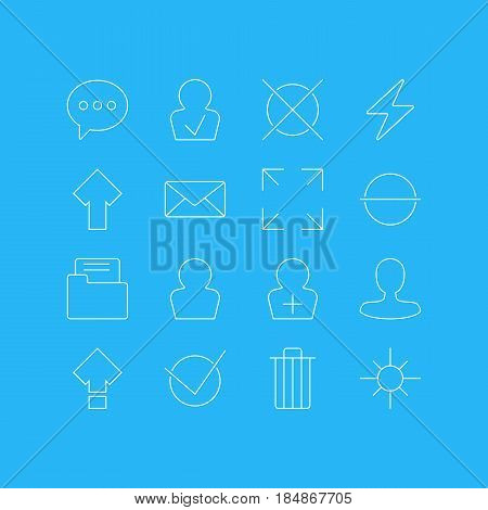 Vector Illustration Of 16 User Interface Icons. Editable Pack Of Register Account, Wide Monitor, Avatar And Other Elements.