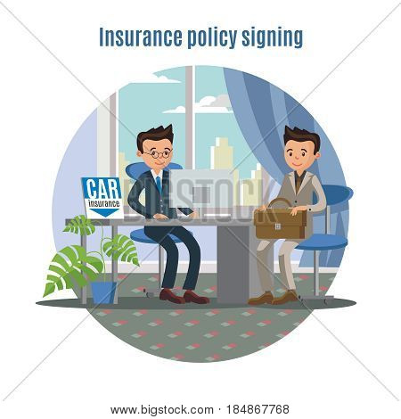 Car insurance service concept with agent and client signing policy in office vector illustration