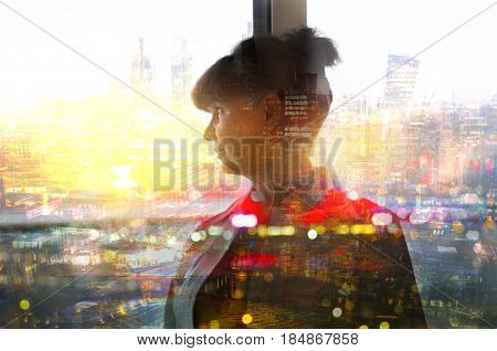 Pension age good looking woman against of window and city view. Multiple exposure image