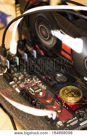Mining cryptocurrency, bitcoin mining money, cash, Finance, technology, GPU