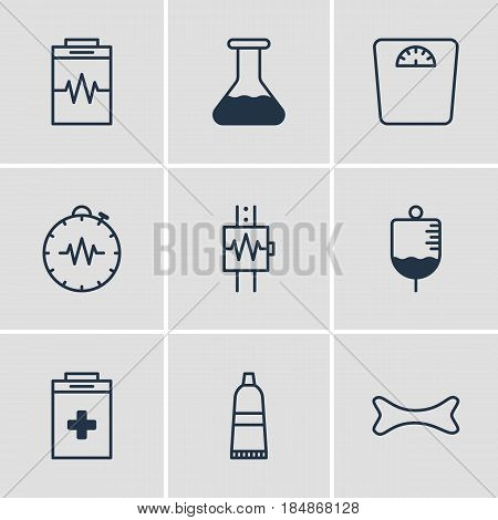 Vector Illustration Of 9 Medicine Icons. Editable Pack Of Osseous, Exigency, Antibody And Other Elements.