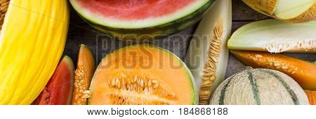panorama topview of a lot melons and melon slices