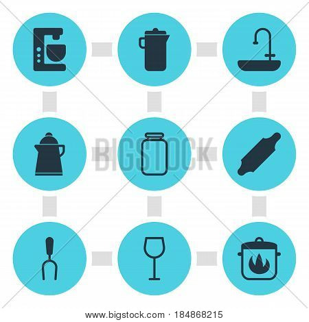 Vector Illustration Of 9 Cooking Icons. Editable Pack Of Washstand, Bakery Roller, Mixer Elements.
