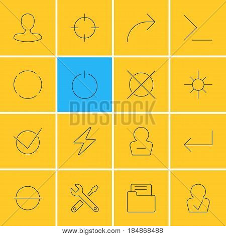 Vector Illustration Of 16 User Interface Icons. Editable Pack Of Startup, Approved Profile, Remove User And Other Elements.