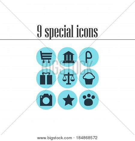 Vector Illustration Of 9 Location Icons. Editable Pack Of Present, University, Shopping Cart And Other Elements.