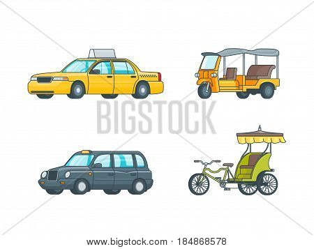 Colorful taxi transport collection with sedan minivan Tuk Tuk in Thailand and indian rickshaw isolated vector illustration